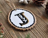 Initial Ornament, Personalized Gift for Couple, Monogram Ornament, Letter Ornament, Modern Christmas Decorations, Rustic Christmas Ornament