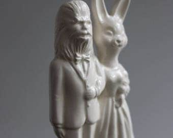 Wookie and Bunny Wedding Cake Topper Couple