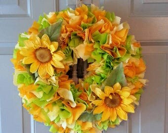 Sunflower Wreath, Sunflower Door Wreath, Sunflower Door Hanger, Indoor Wreath, Sunflower Decor, Spring Summer Wreath, Summer Wreath