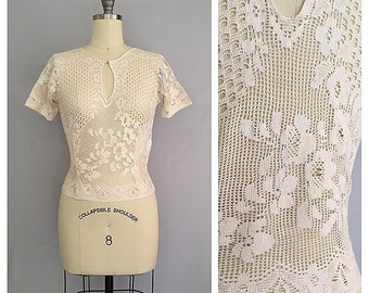 Vanilla creme blouse | 1930s cotton lace blouse | 30s cream keyhole top | s