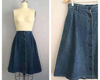 indigo skirt vintage denim blue skirt 70s button front jean skirt ml