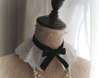 Victorian white Lace Collar Choker Necklace black velvet bow jabot maiden Gothic goth Wicked Lolita steampunk peter pan collar