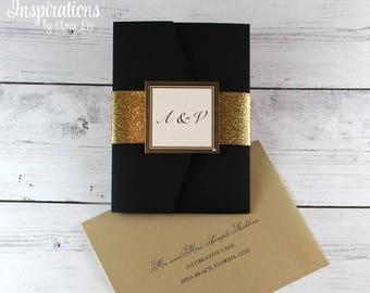 Wedding Invitations, Classic Wedding, Black and Gold Wedding, Glitter Invitations, Monogram Wedding, Black Tie, Formal Wedding