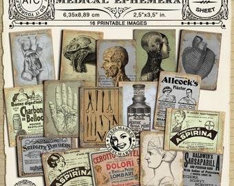 Vintage Printable Medical Illustrations ANATOMY Chart APOTHECARY ADS Collage Sheet Medicine Backgrounds pdf digital download n226