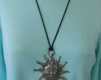Antique Pewter Sun Pendant Necklace