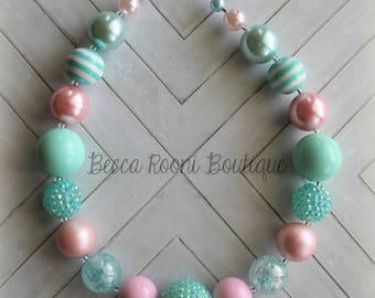 Fabulous Mint Teal and Pink Chunky Bubblegum Necklace and Headband Set, Bubblegum Necklace, chunky necklace, Mint necklace, Pink bubblegum