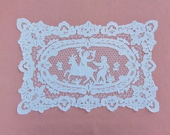 Vintage needle lace placemat, 1 of 5 avaiable Point de Venise placemats, handmade lace placemat or doily with figures and horse