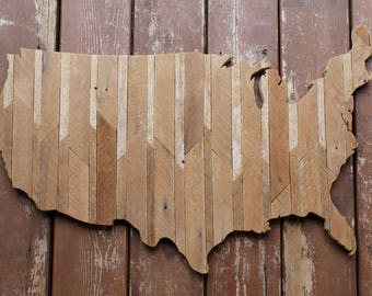 Continental United States reclaimed wood cutout