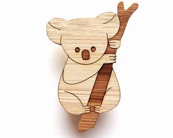 Koala Brooch - lasercut brooch - Australian animal, Australian jewelry, animal brooch
