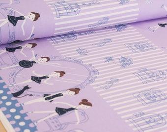 Shinzi Katoh | Japanese fabric - kawaii ballerinas - oxford cotton - purple - 1/2 YD