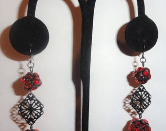 Dangle Red Orange Rhinestone HP Hand Patina Black Filigree Pierced Drop Earrings