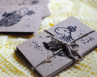 Royal Capybara 5 Card Set - Handmade Linocut Prints