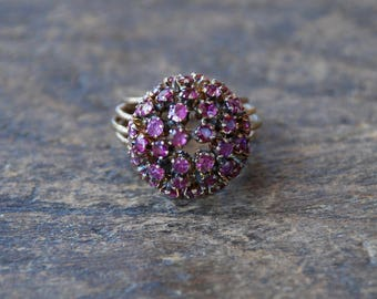 Vintage Ruby Harem Ring Thai Princess Dome Cocktail Ring Red Ruby 14K Yellow Gold Boho Statement Size 6 1/2 US 1970's / Vintage Fine Jewelry