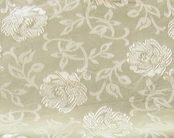 beautiful soft green floral jaquard vintage upholstery fabric -- 45 wide by 1 1/3 yard