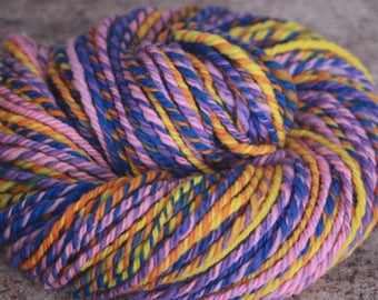 "Handspun Yarn, 3 Ply Yarn / Merino Wool - Worsted Weight – ""Carnival"" with pink, purple, blue, orange, and yellow – 108 yards"