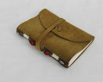 Vintage Suede Notebook Small Brown With Ladybugs