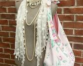 FRANCINE Français grand marché sac strass Barkcloth Floral rose bouton Style Vintage fourre-tout sac à bandoulière sac besace en tissu ample couche