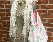 FRANCINE Large French Market Bag Pink Floral Barkcloth Rhinestone Button Vintage Style Tote Shoulder Bag Fabric Messenger Slouchy Diaper Bag