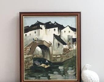 Vintage Asian Oil Painting Signed Original Framed Art Seaside Village Canal Scene