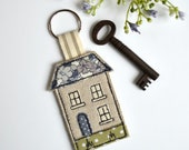 House keyring, house keyfob, house key-ring, house keychain, house warming gift, new home gift, embroidered house keyring, moving home gift