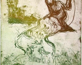 Etching, Philomela  (Ovid's Metamorphoses)