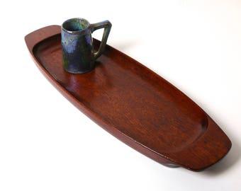 large vintage Wiggers teak tray - 1960s Danish modern decor -mid century modern funriture - Eames era - Scandinavian design