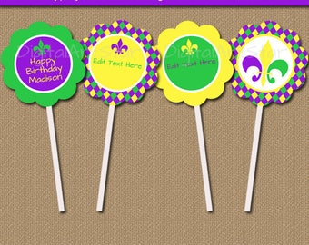 Mardi Gras Cupcake Toppers Printable Mardi Gras Birthday Cupcake Toppers, EDITABLE Mardi Gras Cupcake Picks, DIY Mardi Gras Party Decor M1