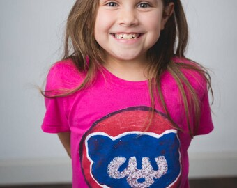 Chicago Cubs, Kids shirt, cubs shirt, cubs,Chicago cubs shirt, cubbies, pink shirt, girls pink shirt, Chicago baseball shirt , chi baseball