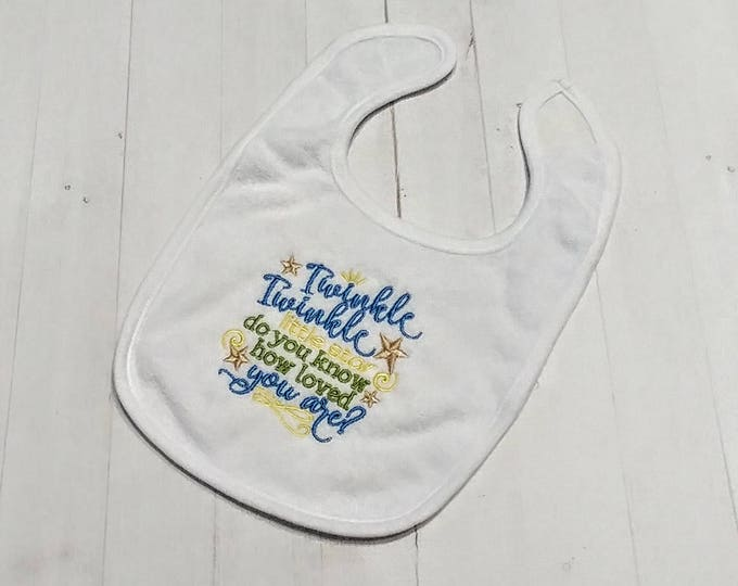 Twinkle twinkle little star do you know how loved your are? white embroidered Koala Baby cloth baby bibs for 6-12 month old boys and girls