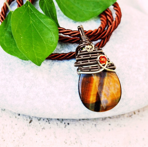 Tiger eye Gemstone necklace Wire wrapped pendant Steampunk Natural stone handmade jewelry Gift for her Mens gift earthy jewelry