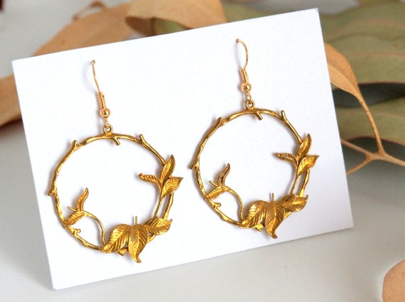Gold hoop earrings leafy Nature jewelry gold colored dangle Circle wedding gift for women Anniversary Christmas gifts antique brass old gold
