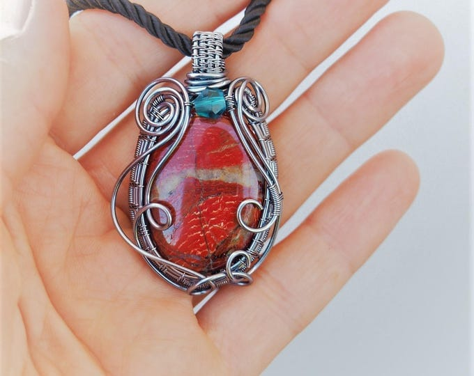 Red Jasper wire wrapped pendant