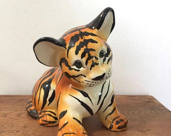 Vintage Ceramic Tiger Cub Sculpture