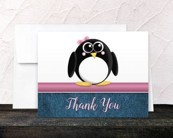 Penguin Thank You Cards - Rustic Denim Cute Penguin Pink and Blue - Blank Inside - Printed Cards