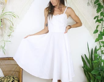 White vintage Sundress, Medium 4205