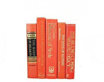 Coral Orange  Decorative Books, Old Book Decor, Antique Book Set, Old Book Set, Book Collection, Interior Design, Home Decor