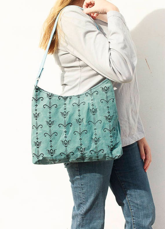 Art Deco Tulip Hobo Bag, Waxed Canvas Handbag, Screen Printed Handmade Purse