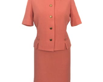 vintage 1960's knit skirt suit / Kimberly / peach coral apricot / wool mohair / Jackie O suit / women's vintage suit / tag size 12