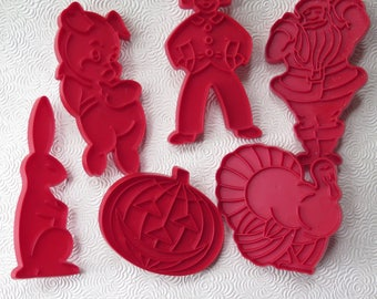 Red Cookie Cutters Cooky Cutters Pumpkin Jack O'Lantern Turkey Santa Bunny Pig Person Set of Six Retro Mid Century Holiday Baking