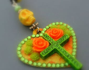 heart pendant fashion Dia De Los Muertos, cross rhinestones skull yellow neon, Orange and green roses