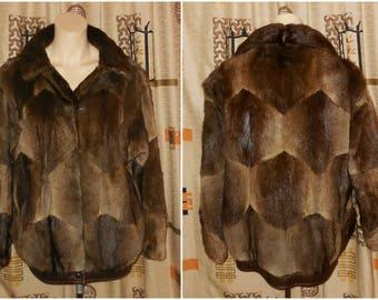 Vintage Fur Jacket 1970s 80s Muskrat Fur Coat Short Brown Patchwork Leather Trim Beautiful Patterns Gorgeous Pelts Unique M L chest to
