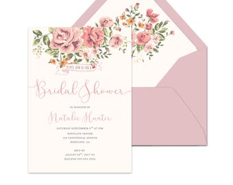 Bridal Shower Invitation {Vintage Roses}