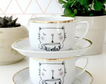 Vintage printed cat Coffee / Tea Cups