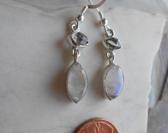 Herkimer Moonstone Silver Wrapped Earrings