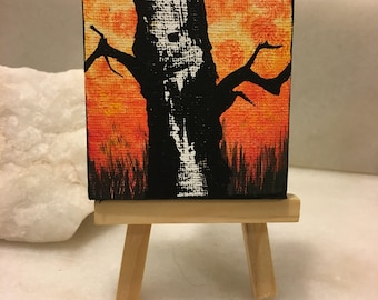 """Original Handmade Fall Art- Painting of Minnesota Birch Tree; Abstract 2.5"""" Square Canvas with Small Easel in Orange and Black"""