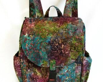 Large backpack- Green, blue,purple,fuschia, brown floral batik cotton