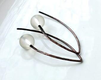 Matte Quartz Earrings, hand-forged oxidized copper threader earrings, natural gemstone modern minimalist earrings, holiday gift for her,4390
