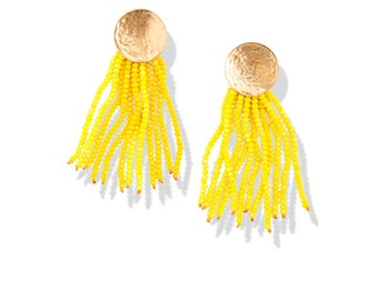 NEW Yellow Beaded Tassel Statement Earrings / sparkly crystal fringe / hammered gold circle posts / New Year's Eve fashion for her