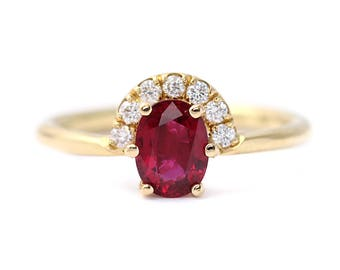 Ruby Engagement Ring, Ruby & Diamond Ring, Gold Ruby Ring, Oval Ruby Engagement Ring, One Carat Ruby Ring, Alternative Engagement Ring