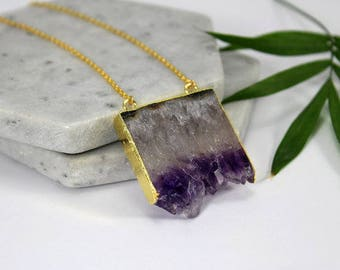 Druzy amethyst slice pendant necklace